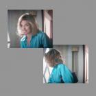 Amanda Peet with Majestic on Set